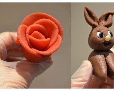 Schnellkurs in Sachen Tortendeko: Rosen und Osterhasen aus Marzipan