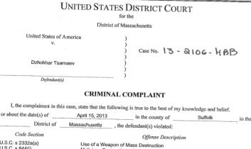 """Aktenzahl """"13-2106-HBB"""": Die Anklage gegen den Boston-Bomber"""