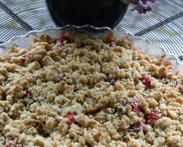 Süßes und Saisonales zum Feiertag – (veganer) Erdbeer-Rhabarbercrumble mit Kokosflocken