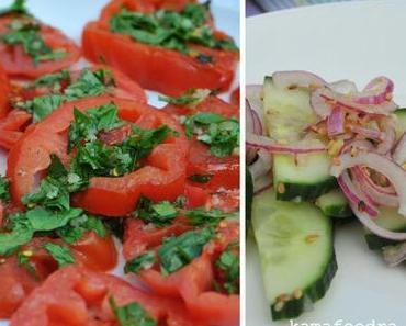 Grill and chill: Gurken-Ingwer-Salat und gebratene Tomaten