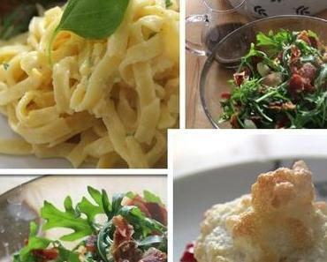 Jamie Oliver 30 Minuten Menü- Sommerpasta -Ruculasalat mit Kräutern, Birnentörtchen