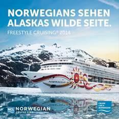 Norwegians sehen Alaskas wilde Seite: Norwegian Cruise Line präsentiert neue Freestyle Cruising Broschüre 2014 für Alaska