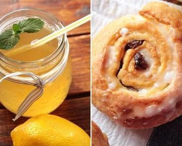 (Sehr-) Spätsommerliche Zitronenlimonade und dazu zuckersüße Rosinenschnecken.