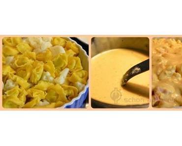 Mahlzeit! Es gibt Tortellini Blumenkohl Auflauf mit Käsesoße… so lecker-versprochen!