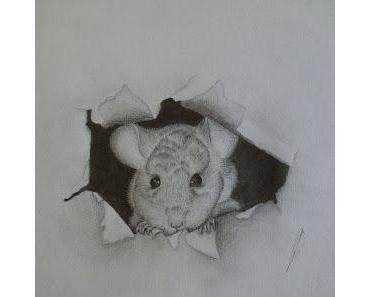 Zeichentutorial: Maus guckt aus Papier raus