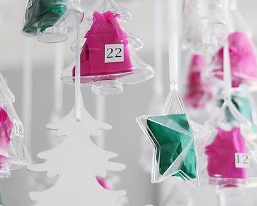 Adventskalender in Grün und Pink