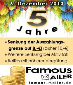 Famous-Mailer.de feiert 5 Jahre Bestehen