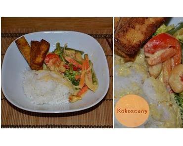 Gemüse Kokoscurry mit Tofu und Cashew auf Reis
