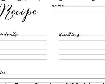 10 kostenlose Rezeptkarten in Black&White