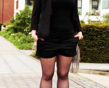 Shorts, Gold, Blazer, Black
