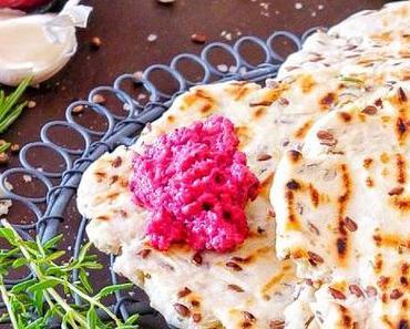 Beete-Pesto mit Kräuter Falden Brot vom Grill