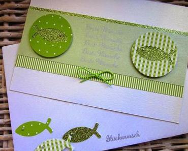 Taufkarte in Grün-Weiß mit Fischen