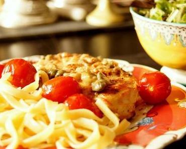 Geschmortes Hühnchen Marsala mit Kapern und Cherry-Tomaten