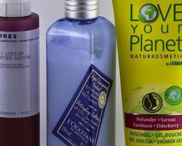 Lieblinge: Tonic Lotion mit Granatapfel von Korres, Lavendel-Spülung von L'Occitane, Duschgel mit Holunder von Love your Planet