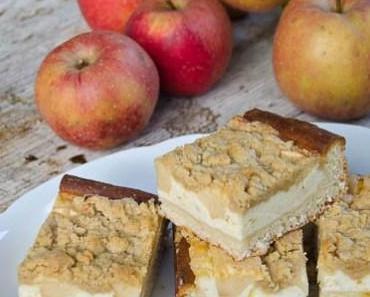 Sonntagskuchen: Kleiner Käsekuchen mit Apfel und Streusel vom Blech
