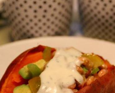 Süßkartoffel mit Krabbensalat*