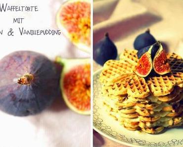 Waffeltorte mit Vanillepuddingcreme, Feigen und Nüssen [Wer sich dieses Törtchen nicht zutraut, ist eine Feige Nuss!]