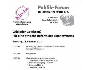 Vortrag über Regionalgeld CARLO am 12. Februar 2011 in Karlsruhe