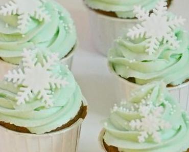 Bananen-Walnuss-Schoko Cupcakes mit Schneeflocken