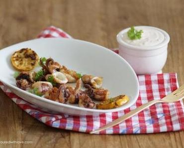 Baby Calamari mit Knoblauchsauce / Baby Squid with garlic sauce