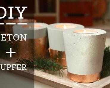 DIY Beton & Kupfer Kerzenhalter