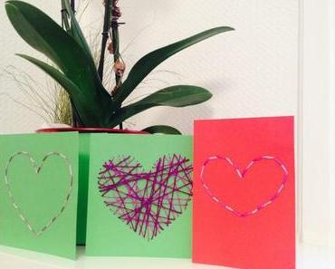 Gestickte Karten zum Valentinstag