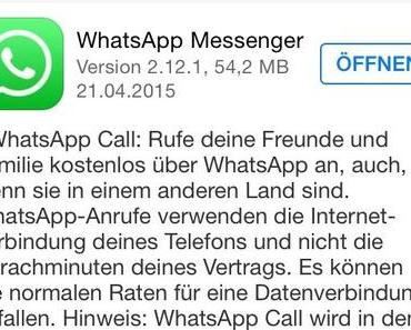 WhatsApp Messenger: Update bringt Call-Feature für iOS